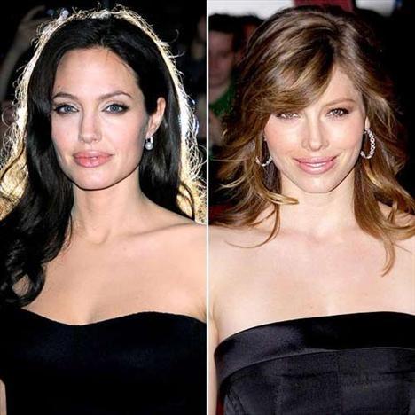 En güzel dudaklar! Angelina Jolie - Jessica Biel  Angelina Jolie  Jessica Biel