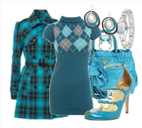 Mini balıkçı yaka modelinde mavi renkli elbise