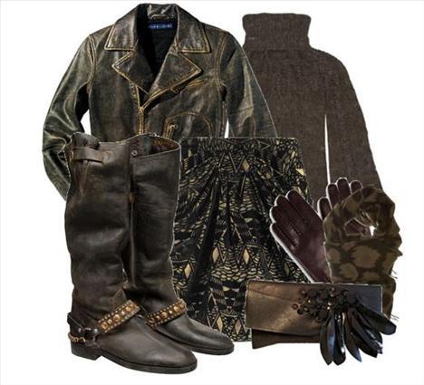 Deri ceket ve etekle kombinlenebilecek kahverengi renginde balıkçı yaka kazak
