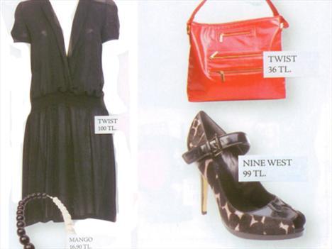 Elbise: Twist 100 TL Bilezik: Mango 16,90 TL Çanta: Twist 36 TL Ayakkabı: Nine West 99 TL