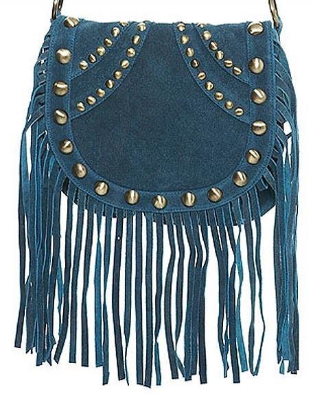Püsküllü küçük mavi çanta