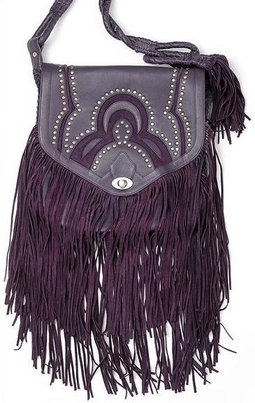 Koyu mor renginde uzun püsküllü çanta