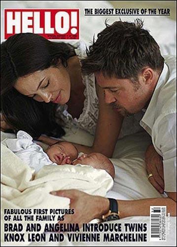 Angelina Jolie ve Brad Pitt ikizlerinin fotoğraflarını iki ayrı dergiye toplam 14 milyon euro'ya sattı