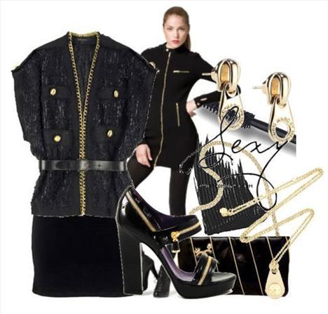 Fermuarlı siyah yarasa kollu kazak ve altın sarısı küpeler