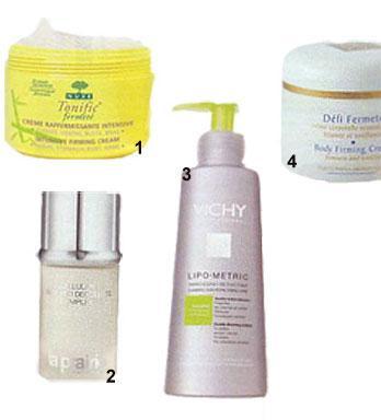 1 - Nuxe Tonific Intensive Firming Cream - İnceltici vücut kremi 92 TL 2 - La Praire Cellular Bust And Decolletté Complex Sıkılaştırıcı Göğüs ve dekolte kremi 368 TL 3 - Vichy Lipo-Metric İnceltici Vücut kremi 64,90 TL 4 - Mary Chor Body Firming Cream  - Şekillendirici vücut kremi 101 TL