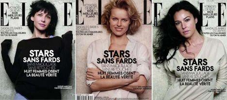 Eva Herzigova, Monica Bellucci ve Sophie Marceau makyajsız olarak en doğal halleriyle görüntülendi. Ünlü güzeller Fransız Elle dergisinin Nisan kapağı için makyajsız halleriyle obektif karşısına geçti.