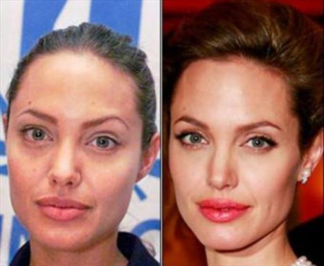 Angelina Jolie'nin makyajlı ve makyajsız hali