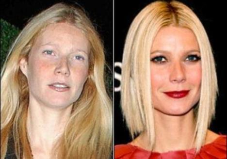 Gwyneth Paltrow'un makyajlı ve makyajsız hali