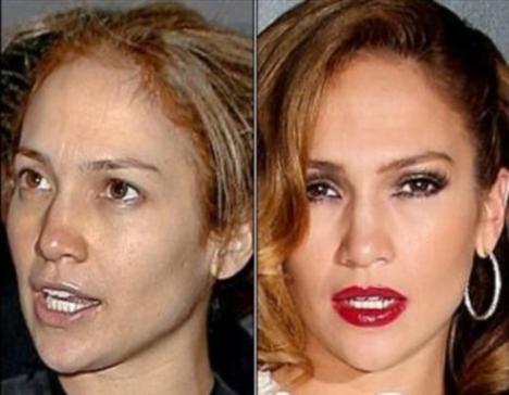 Jennifer Lopez'in makyajlı ve makyajsız hali