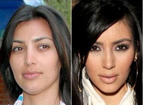 Kim Kardashian'ın makyajlı ve makyajsız hali