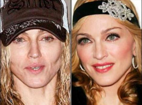 Madonna'nın makyajlı ve makyajsız hali