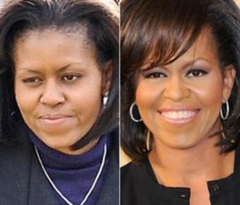 Michelle Obama'nın makyajlı ve makyajsız hali