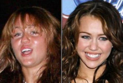Miley Cyrus'un makyajlı ve makyajsız hali