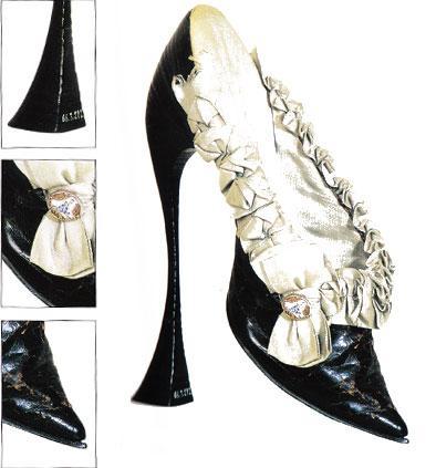 Siyah deri ve satenden yapılan bu ayakkabı yürümek için oldukça rahatsız. Süslemek için de küçük bir porselen düğme kullanılmış.   Ayakkabının topuk yüksekliği 20 santimetre. 1900 yılında Vienna, Avusturya'da keşfedilmiş.