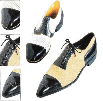 Siyah deri ve süet erkek ayakkabıları. 1920' li yıllar.