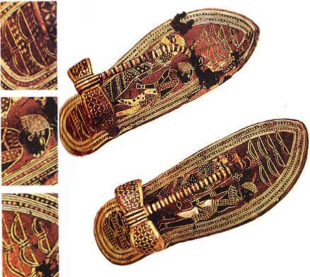 Şimdilerde yürüyüş için, koşma için, dağcılık ve şu anda sayamayacağımız bir çok spor için farklı farklı ayakkabılar var.   Fakat eski çağlarda, yani koşullar ne olursa olsun insanların yaşamak için daima fiziksel güç kullanması gerektiği zamanlarda ayakkabılar herkes için çok önemliydi. Bu sandalet de Mısır'dan ve bitki kökleriyle boyanmış. Şu anda İsviçre'de Bally Müzesi'nde sergileniyor.