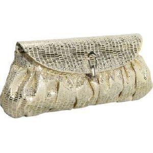 J Furmani Metallic Gold Pleated Designer Clutch Bag