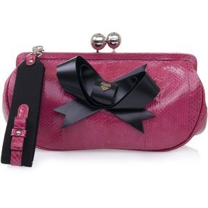 Luella Pink Snakeskin Purse With Bow