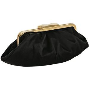 Fendi black pleated satin frame clutch at Bluefly