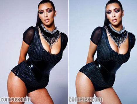 Öyle ki, Kardashian Complex dergisine verdiği pozlardan oluşan fotografların, 'photoshop programı' ile düzeltilerek yayınlanmasına tepki gösterdi. Kardashian, selülitli bacak ve kalçalarının 'doğal' halini yansıtan fotoğrafları derginin çıkan fotoğraflar ile birlikte kendi sitesinde yayınladı.