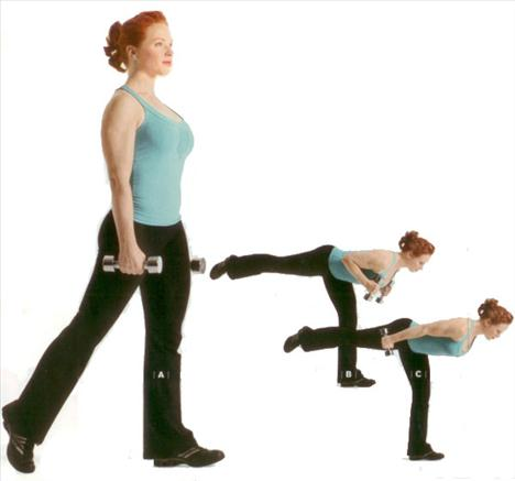 TRICEP WARRIOR    Gövde, kol (tricep), diz, kalça ve baldırları çalıştırıyor.   Her iki eline 3-4 kilogramlık bir çift dambıl alarak kollarını iki yana aç. Sağ ayak arkada sol ayak ise önde olsun (A). Kalçayı kırarak ve sağ ayağı yukarı kaldırarak öne doğru eğil. Simdi de dambıllar omuzların altında hizalanana kadar dirseklerini bük (B). Omuzlarını sabit tutarak kolunu düzeltirken sağ bacağın yere yaklaşmamasına dikkat etmelisin (C). 15-20 defa tekrarladıktan sonra 30 saniye dinlen ve sonra da egzersizi sol ayağı yukarı kaldırarak uygula.     Kaynak: Women's Health    Anasayfaya dönmek için tıklayın!   Habere yorum yapmak için tıklayın!