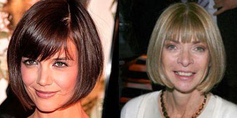 Katie Holmes-Anna Wintour: Holmes, küt saçlarıyla moda dergisi Vorgue'un genel yayın müdürü Wintour'a benziyor.