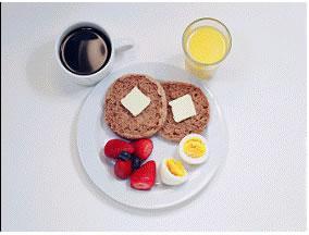 Kahvaltı - 290 kalori  1 adet kahvaltılık tam tahıllı muffin 2 parça düşük kalorili tereyağ parçası 1 adet haşlanmış yumurta Yarım porisyon meyve 1 bardak meyve suyu 1 fincan şekersiz/tatlandırıcılı kahve