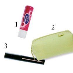 1. Nivea, cherry dudak nemlendiricisi. 4.10; tüm marketlerde  2. Makyaj çantası, The Body Shop 14,90 TL  3.  Giorgio Armani, high precision retouch kapatıcı, 120 TL; Harvey Nichols
