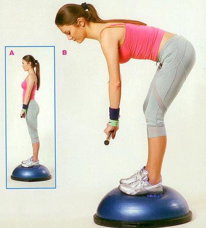 Bosu özerinde bodybar kaldırma Çok etkili olan bu egzersizle bacağınızın arka kas grubunu ve bel bölgesini çalıştırırsınız. Yine iki ayağınızla birlikte dengeli bir şekilde bosu üzerine çıkın. Sırt düz, kollar vücudun önünde, avuç içleri aşağı bakacak şekilde bodybarı tutun. Bacakların arka kas grubu gerilene kadar kontrollü bir şekilde ayak parmak uçlarına doğru omuzlarınızı düşürmeden eğilin. Gerilmeyi ve kasılmayı hissettiğiniz noktada bekleyin ve belden de destek alarak vücudunuzu yukarı kaldırın. İlk pozisyona gelerek hareketi 15'er tekrardan oluşan 2 set halinde yapın.