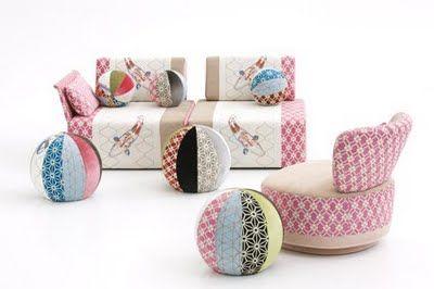 Bu marjinal tasarımlar insanı şaşırtıyor!    Edward Van De Vliet bu renkli koltuk ve puf  tasarımını Moroso için yarattı...