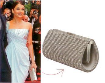 Aishwarya Rai'ın kristal portföyü Kırmızı halı davetlerinde elbise kadar portföy seçimi de çok önemli. Cannes Film Festivali için Rai'ın seçimi kristalden yana.  Kristal taşlı portföy, 850 Euro Swarovski (0212) 353 09 69