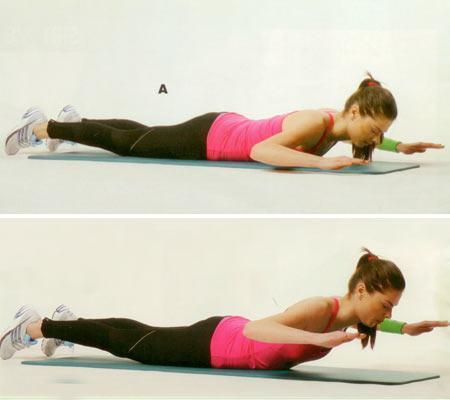 Sırt ve bel egzersizleri Ters mekik Yüz üstü matın üzerine uzanın. Kolları omuz hizasında, dirsekler ortalama 90 derecelik bir açı oluşturacak şekilde açın (A). Bel bölgesinden kuvvet alarak vücudun üst kısmını yavaşça nefes vererek yukarı doğru kaldırın (B). Hareketi yaparken belinizi aşırı zorlamamaya dikkat edin. Başlangıç pozisyonuna gelerek hareketi 15'er tekrardan oluşan 2 set halinde yapın.