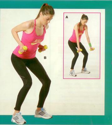 Sırt ve bel egzersizleri Dambıl çekme Başlangıç pozisyonunda ayaklaromuz genişliğinde açık, dizler hafif bükülü, bel kontrollü ve karın kasları sıkı olmalı. Kollar vücudun ön kısmında, düz bir konumda durmalı (A). Nefes vererek kollarınızı geriye doğru çekin. Eller ortalama olarak göğüs hizasına kadar gelmeli (B). Hareketi yaparken tamamen sırt kaslarını kullanarak ağırlıkları yukarı doğru çekmeye dikkat edin. Başlangıç pozisyonuna gelerek hareketi 15'er tekrardan oluşan 2 set halinde yapın.