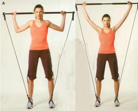 Omuz egzersizleri Gymstick ile omuz egzersizi Sırt dik, bacaklar omuz hizasında açık, dirsekler yere paralel, avuç içleri öne bakacak şekilde gymstick'i başınızın arkasında tutun (A). Nefes vererek gymstick'i yukarı doğru itin (B). Tekrar başlangıç pozisyonuna gelerek, gymstick'i kaldırıp indirerek, egzersizi 15'er tekrardan oluşan 2 set halinde yapın.