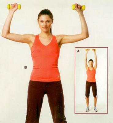 Omuz egzersizleri Dambılla omuz güçlendirme Başlangıç pozisyonunda ayaklar omuz genişliğinde açık, kollar 90 derecelik açıda dirseklerden kırılı ve dirsekler yere paralel olmalı. (A) Karın kasları ve bacaklar sıkı, avuç içleri karşıya bakacak pozisyonda nefes vererek dambılları yukarı doğru kaldırın ve baş hizasında birleştirecekmiş gibi hareket ettirin (B). Egzersizi 15'er tekrardan oluşan 2 set halinde yapın.  Belinde hassasiyet olan kişiler bu egzersizi küçük ve hafif ağırlıklarla, sandalyeye oturup, bellerini sabitleyerek yapabilirler.