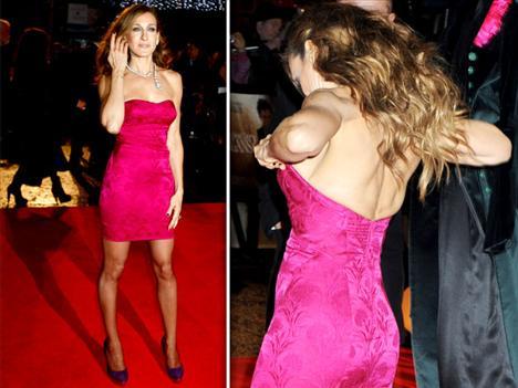 Sarah Jessica Parker ve Hugh Grant'ın başrollerini paylaştığı 'Did You Hear About The Morgans?' filminin galası, önceki gece Londra'da yapıldı.Galada giydiği pembe renkteki straplez elbisesiyle bir türlü rahat edemeyen Parker, kırmızı halıda yürürken zor anlar yaşadı.