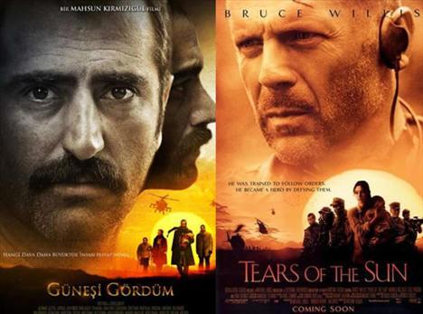 Benzerlik tartışmalarına film afişlerinden bir örnek... Bruce Willis`in başrolde oynadığı `Tears of the Sun` (Güneşin Gözyaşları) filminin afişiyle neredeyse aynı olması gözlerden kaçmadı.     2003 yılı yapımı `Tears of the Sun`la, `Güneşi Gördüm`ün afişlerinin renk tonları, küçük karedeki kalabalık insan grubu ve elinde çocuk taşıyan oyuncu görüntüsü aynı. İki afişte de helikopter ve güneş var. Bruce Willis`in büyük resminin olduğu orta alanda Mahsun Kırmızıgül`ün resminin bulunması da, iki afiş arasındaki benzerliği ayyuka çıkarıyor.