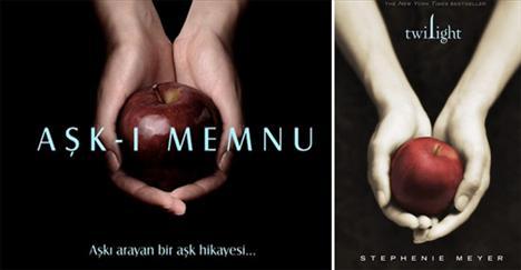 """Yazar Stephenie Meyer'in 2005 yılında Amerika'da yayınlanmış ve büyük ilgi görmüş """"Twilight"""" adlı kitabının kapağı ile Aşk-ı Memnu dizisinin afişinin arasındaki benzerlik ortada. İnternet bloglarında bu iki kare yan yana getirildi."""