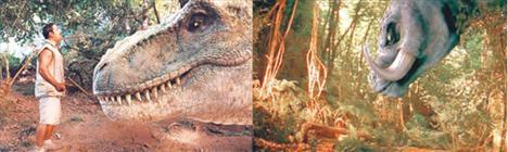 """""""A.R.O.G""""da Arif'in fragmanlarda da yer alan meşhur dinozorla yüzyüze karşılaşma sahnesinin aynısı """"RRRrrrr""""da da var."""
