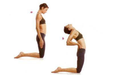 Camel lean Bacakları bitiştirip kollarınızı iki yana koyarak yere dizüstü çömelin. Çenenizi göğsünüze yaklaştırarak nefes alın (a). Çenenizi kaldırıp iyice arkaya doğru eğilin. Destek almak için ellerinizi sırtınızın arkasına koyun. Başınızı ve boynunuzu arkaya verin (b). Nefes verirken tekrar başlangıca dönün.   Dikkat: Nefes alırken göğüs kaslarınızı esnetin.
