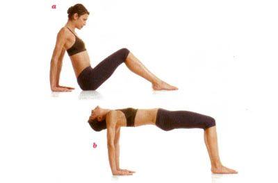 Inverted table raise Bacaklarınızı kalça genişliğinde açıp dizlerinizi kırarak yere oturun. Ayaklarınızı ve avuçlarınızı da yere koyun, parmak uçlarınız ise kalçaya dönük olmalı. Nefes alın (a). Kalçanızı ve gövdenizi iyice yukarı kaldırın, ayaklar dizlerin tam altına gelmeli. Kalça ve sırt yere paralel olmalı (b). Nefes verirken tekrar başlangıca dönün.   Dikkat: Nefes verirken çenenizi göğsünüze yaklaştırın.