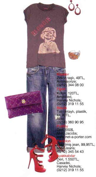 Pantolon: Boyfriend jean havasındaki pantolonunuzu rocker tişörtler ile kombine ederek asi tarafınızı ortaya çıkarabilirsiniz.