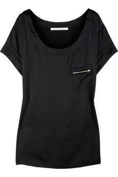 Diane Von Furstenberg fermuar detaylı siyah tişört
