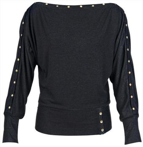 Koyu gri zımbalı bluz. Sezonun hit trendi zımblarla rock şıklığını yakalamak istiyorsanız, bu bluzu kaçırmayın.   Satın almak için tıklayın!