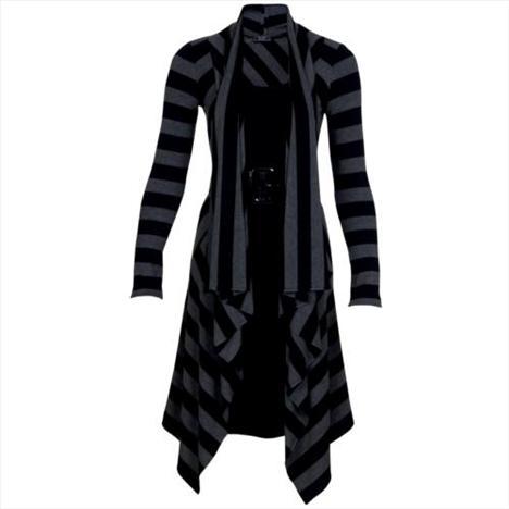 Yüzde 70 viskon, yüzde 20 polyester, yüzde 10 elestan. Gri ve siyah çizgili elbise.   Satın almak için tıklayın!