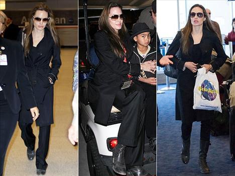 Angelina Jolie, Burberry markalı lacivert trençkotundan vazgeçemiyor. Seyahat ederken de, ailesiyle birlikte olmanın tadını çıkarırken de üzerinde bu trençkot oluyor.