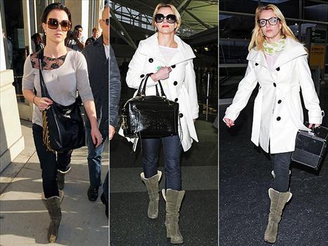 Britney Spears kış mevsimi boyunca ayaklarını sıcak tutmak için Pierre Hardy for GAP botlarından vazgeçmedi.
