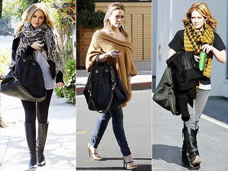 Hilary Duff, nereye giderse gitsin zeytin rengi Givenchy by Riccardo Tisci Nightingale çantası her zaman yanında.