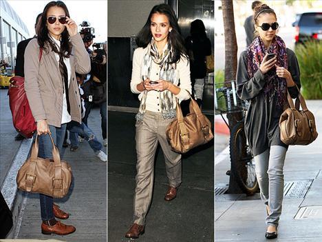 Jessica Alba'nın günlük giyim tarzı çok cool ve şık. Bu konuda en büyük yardımcısı da sürekli kullandığı Escada Sports çantası.