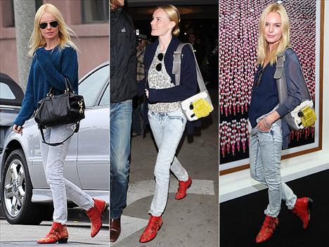 Kate Bosworth'un vazgeçemediği şey ise Chloe botları. Bu kırmızı Chloe bootie'ler nereye gitse Kate'in ayağında.